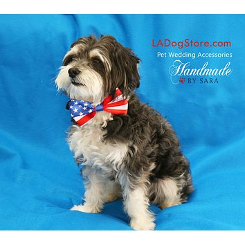4th of July Dog bow tie attached to collar, 4th july wedding pet accessory. USA Flag