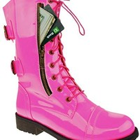 Hot Pink Secret Pocket Lace Up Rockin Barbie Combat Boots