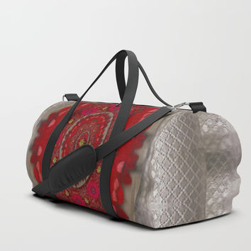 Strawberry  with waffles and fantasy-flowers in harmony Duffle Bag by Pepita Selles