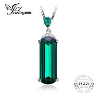 JewelryPalace 4.42ct Created Emerald Pendant Solid 925 Sterling Silver Brand Jewelry 2017 New Not Include the Chain