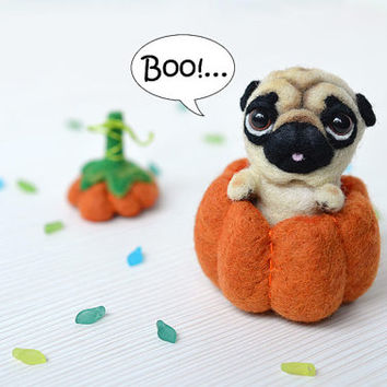 Needle felted pug puppy in the pumpkin. Little felt dog. Sweet animal. Funny toy. Halloween gift.