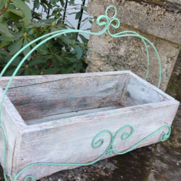 Wood and Wrought-iron Flower Box