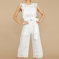 Elegant White Lace Embroidery Jumpsuits Women Ruffles Bow Tie Beach Jumpsuit Feminino Casual Long Rompers