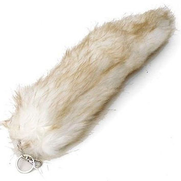 """WHITE WITH BROWN STREAKS FUR FOX TAIL FOXTAIL KEYCHAIN 12"""" CLIP-BRAND NEW!"""