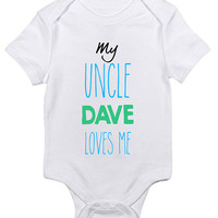 """Personalized """"My Uncle Loves Me"""" Baby Clothes Infant Bodysuit Jumper Customizable Baby Shower Gift idea New Mom Brother Christmas Humor"""
