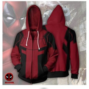 Deadpool Dead pool Taco Marvel Movie  2 Cosplay Hoodies Zipper Sweatshirt Hooded Coat For Men 3D Printing Casual  Cosplay Costume Adult AT_70_6