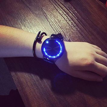 Screen LED Watches Lover Clock For Women Mens with Tree Shaped Dial Blue Light Display Time Leather Band watches   LL