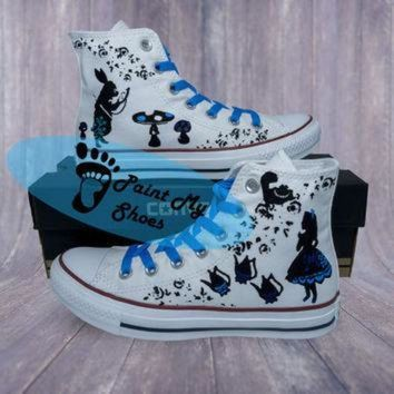 CREY9N Alice In Wonderland, converse, cartoon shoes, free shipping in the US