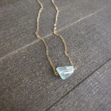 14k gold filled aquamarine nugget bead necklace / dainty tiny necklace / bridesmaid necklace / minimalist necklace / March birthstone