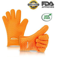 Silicone BBQ Gloves - Protect Your Hands with Super Grip to Have Best Safety for Any Work - Kitchonics Premium Heat Resistant, Highest Rated Cooking and Oven Mitts (Orange)