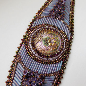 Bead Embroidery Bracelet OOAK Seed bead bracelet Czech glass button Lilac Gold Purple Swarovski