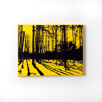Trees and Shadows Forest Nature Canvas (Yellow w/ Black) Screenprint/Painting, Nature Home Decor, Yellow Wall Art, Tree Canvas
