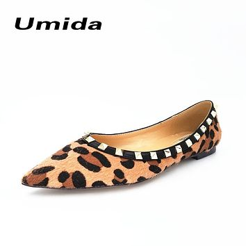 Umida Brand Sexy Leopard Women Shoes Pointed Toe Real Leather Shoes Women Flats Plus Size 33-43 Flats Shoes Women Rivets Shoes