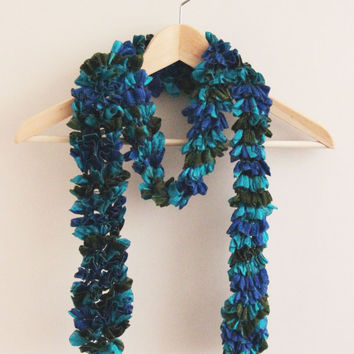 Blue turquoise olive green hand knit scarf knitted with a special frilly yarn Ruffle Scarf ruffled scarves frilly knitted scarf sashay