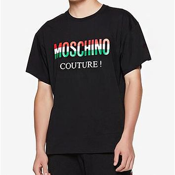 MOSCHINO New Popular Women Men Casual Print T-Shirt Top Tee Black