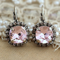 Silver Pink Blush rosaline Crystal lever back drop earring bridesmaids earrings - oxidized silver plated real swarovski rhinestones jewelry