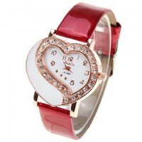 Diamonds Watches for Women with Numbers and Dots Heart Shape Dial Leat