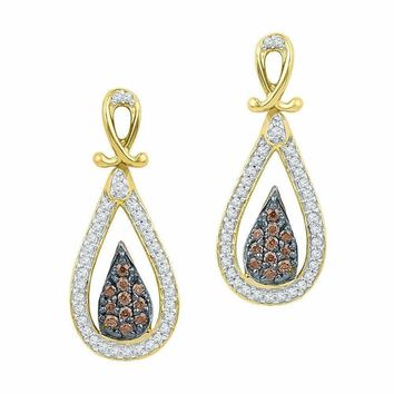 10kt Yellow Gold Women's Round Brown Color Enhanced Diamond Teardrop Dangle Earrings 1-3 Cttw - FREE Shipping (US/CAN)
