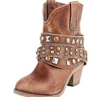 Corral Cognac Studded Wrap Ankle Boots P5042