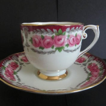 Roslyn Bone China Cup and Saucer Buckingham Garland of Pink Roses