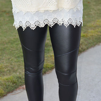 Leggings with Faux Leather