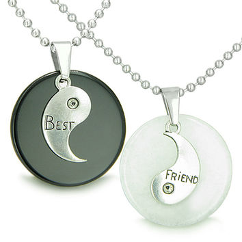 Double Lucky Best Friends Yin Yang Amulets White Quartz Black Agate Pendant Necklaces