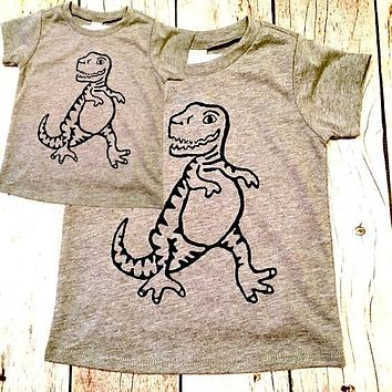 2 shirts -Father's Day Dinosaur Matching Grey Tshirt set men's boys kids