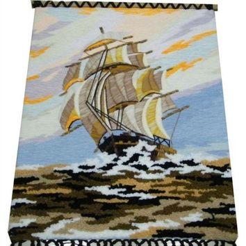 Handmade Art Tapestry Tapestry Wall Mural Hall Classic Decorative Paintings Sailing 1
