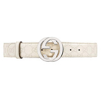 GUCCI - Leather Belt for Men SIGNATURE (114984AA61N1523) - off-White