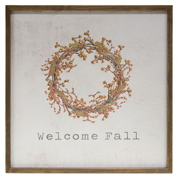 """Welcome Fall - Framed Watercolor Wall Art - 20"""""""