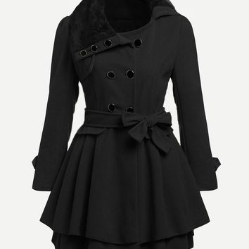 Black Faux Fur Collar Double Layered Trench Coat