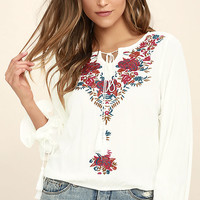 Merrymaking White Embroidered Long Sleeve Top