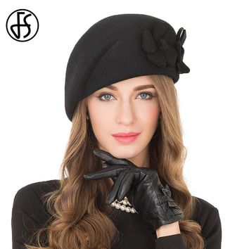 FS Elegant Black Female 100% Wool Flower Fedora Hat England Style Vintage Winter Women Felt French Beret Hats Bone Feminino