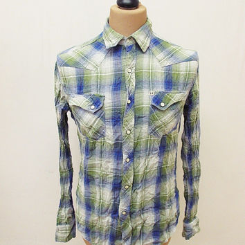 Retro Salt Valley Flannel Lumberjack Plaid Check Shirt Small
