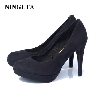 Classic high heels dress shoes woman black pumps ladies shoe slip on 36-42