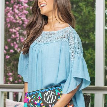 Venture Out Top in Sky Blue | Monday Dress Boutique