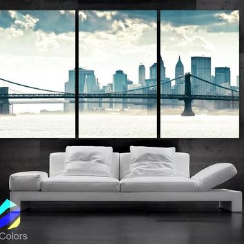 "LARGE 30""x 60"" 3Panels Art Canvas Print manhattan bridge New York City NY Wall Home (framed 1.5"" depth)"