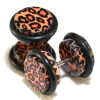 00G = 10mm Leopard Cheetah Print Fake Cheaters Illusion Ear Plugs, 16G = 1.2mm, 1 Pair, Large Size