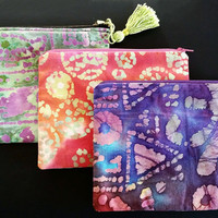 Vibrant And Colorful Purple Batik Zipper Pouch With Lining