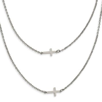 Stainless Steel Double Sideways Crosses Layered Pendant Chain Necklace 16.5in