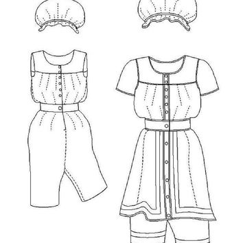 Victorian Bathing Suit Pattern: Multi Size Historical Sewing Pattern - 1880-6