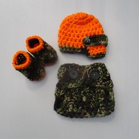 Baby Hunter Camouflage Orange Outfit Newborn Photo Prop