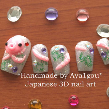 Nautical, Octopus nails, Japanese crazy nail art, 3D nails, Takochu, kawaii octopi