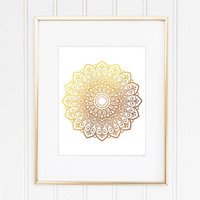Gold Mandala Art Print, Mandala Poster, Zen Art, New Age, Meditation Art, Geometric Wall Art, Home Decor, Office Decor, Dorm Decor, Bedroom