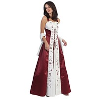 CLEARANCE - Burgundy Prom Dress Cross Tie Medieval Burgundy Dress (Size 2XL)