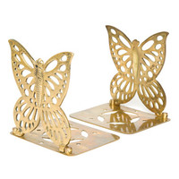 Vintage 60s 70s Brass Butterfly Folding Bookends // 1960s 1970s Metal Cutout Retro Home Decor Book Shelf Ends