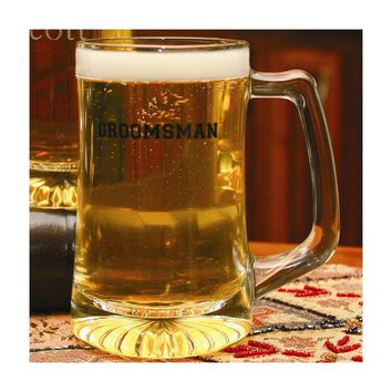 Glass Groomsman Mug - Etching Personalized Perfect Wedding Gift