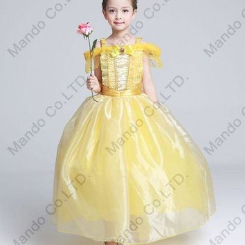 LMFON Kids Fair BELLA Girls Christmas Costumes Long Dresses Beauty and The Beast Cosplay Clothing Children Princess Belle dresses