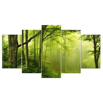 Green Forest Swamp Trees Wall Art Canvas Panel Print Picture Framed Noframe