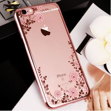 KISSCASE Floral Patterned Case For iPhone 7 6 6s 8 Plus Glitter Bling Girly Phone Cases For iPhone 5s se X 10 Plain Bumper Shell